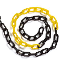 Plastic chain black and yellow 6mm (25 metres)